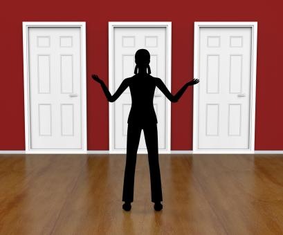 Free Stock Photo of Silhouette Doors Means Doorways Direction And Choose