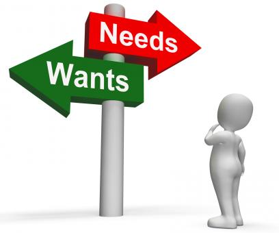 Free Stock Photo of Wants Needs Signpost Shows Materialism Want Need