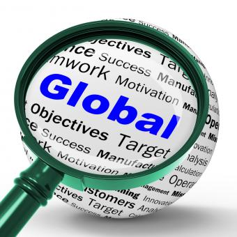Free Stock Photo of Global Magnifier Definition Means International Communications Or Worl