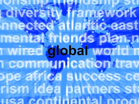 Free Stock Photo of Global Word On Map Showing International Commerce