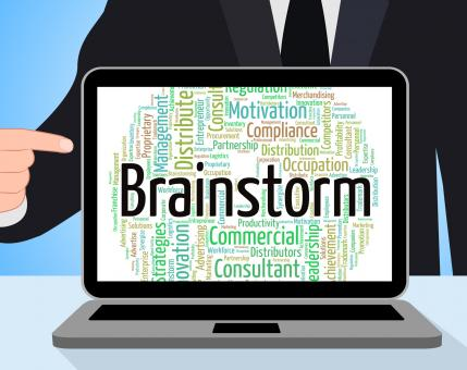 Free Stock Photo of Brainstorm Word Means Put Heads Together And Brainstorms