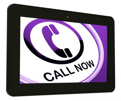 Free Stock Photo of Call Now Tablet Shows Talk or Chat