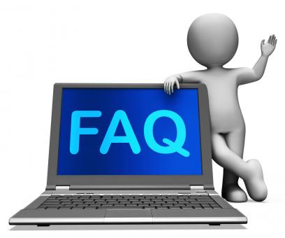 Free Stock Photo of Faq Laptop And Character Shows Solution And Frequently Asked Questions