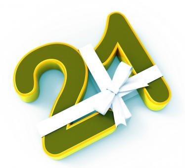 Free Stock Photo of Number Twenty One With Ribbon Displays Creative Design Or Birthday Ado