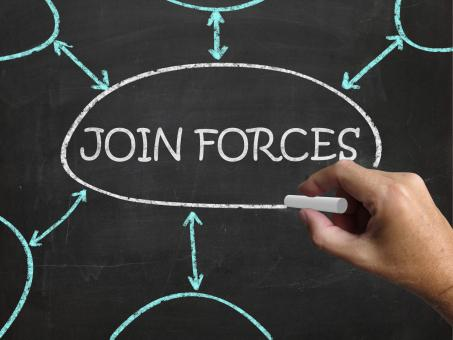 Free Stock Photo of Join Forces Blackboard Means Work Together And Partnership