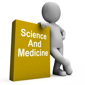 Free Stock Photo of Science And Medicine Book With Character Shows Medical Research