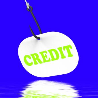 Free Stock Photo of Credit On Hook Displays Financial Loan Or Bank Money