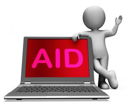 Free Stock Photo of Aid And Character Laptop Shows Assisting Aiding Helping Or Relief