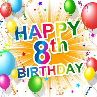 Free Stock Photo of Eighth Birthday Indicates 8 Celebrate And Greeting