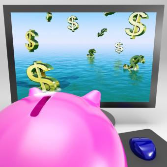 Free Stock Photo of Dollar Symbols Drowning On Monitor Showing Financial Disaster