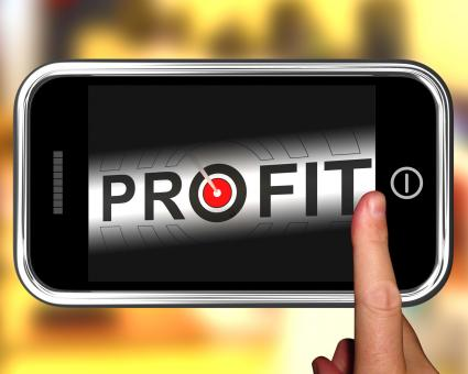 Free Stock Photo of Profit On Smartphone Shows Aimed Progress