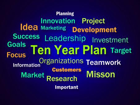 Free Stock Photo of Ten Year Plan Brainstorm Means Company Schedule For 10 Years