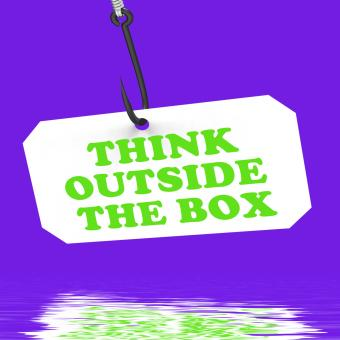 Free Stock Photo of Think Outside The Box On Hook Displays Imagination And Creativity