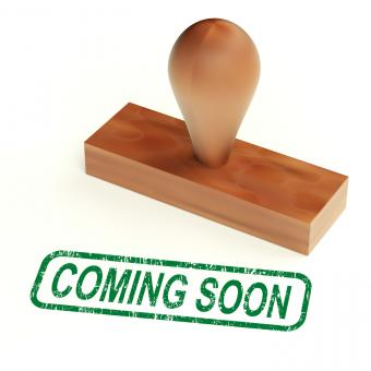Free Stock Photo of Coming Soon Rubber Stamp Showing New Product Announcement