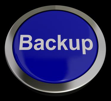 Free Stock Photo of Backup Button In Blue For Archiving And Storage