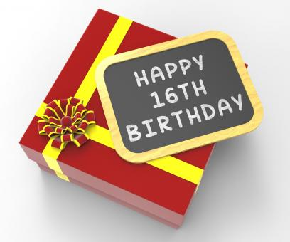 Free Stock Photo of Happy Sixteenth Birthday Present Shows Sweet Sixteen Celebrations Or P