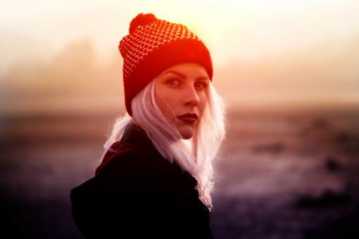 Free Stock Photo of Young Blond Woman with Beanie in Winter