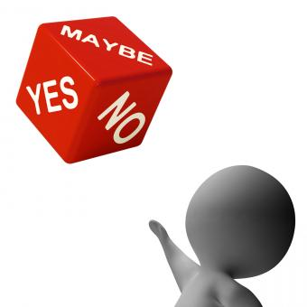 Free Stock Photo of Maybe Yes No Dice Shows Uncertainty And Decisions