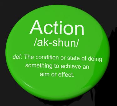 Free Stock Photo of Action Definition Button Showing Acting Or Proactive