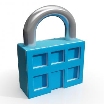 Free Stock Photo of Padlock And House Shows Building Security