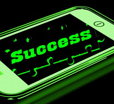 Free Stock Photo of Success On Smartphone Showing Progression