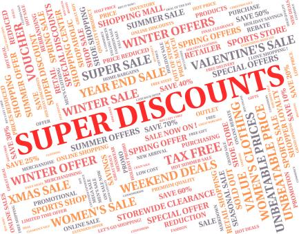 Free Stock Photo of Super Discounts Represents Good Reduction And Save
