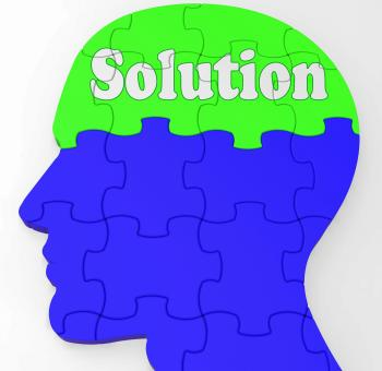 Free Stock Photo of Solution Brain Profile Shows Result Of Problem
