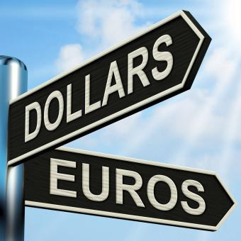 Free Stock Photo of Dollars Euros Signpost Shows Foreign Currency Exchange