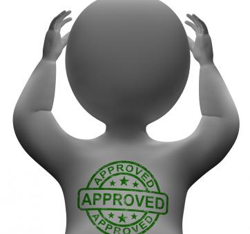 Free Stock Photo of Approved Stamp On Man Showing Quality Excellent Products