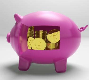 Free Stock Photo of Euros In Piggy Shows Wealth And Success