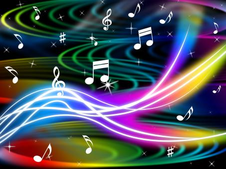 Free Stock Photo of Music Swirls Background Shows Flourescent Musical And Tune