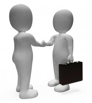 Free Stock Photo of Handshake Businessmen Shows Deal Illustration And Contract 3d Renderin