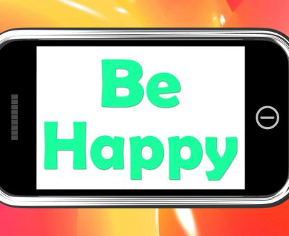 Free Stock Photo of Be Happy On Phone Shows Cheerful Happiness