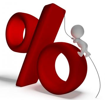 Free Stock Photo of Percent Sign With 3d Man Climbing Showing Percentage