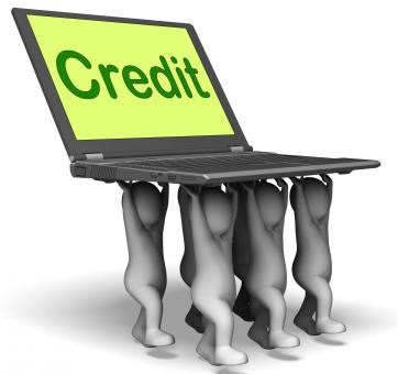 Free Stock Photo of Credit Laptop Characters Show Borrowing Or Loan For Purchasing