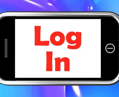 Free Stock Photo of Log In Login On Phone Shows Sign In Online