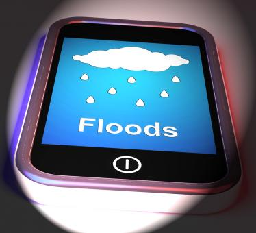 Free Stock Photo of Floods On Phone Displays Rain Causing Floods And Flooding