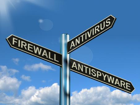 Free Stock Photo of Firewall Antivirus Antispyware Signpost Showing Internet And Computer