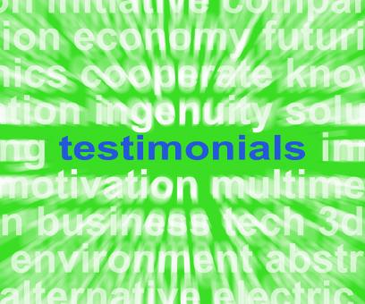 Free Stock Photo of Testimonials Word Shows Supporting And Recommending Product Or Service