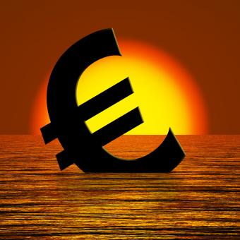 Free Stock Photo of Euro Symbol Sinking And Sunset Showing Depression Recession And Econom