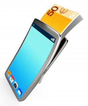 Free Stock Photo of Phone With Copyspace Represents Cash Online And Banking