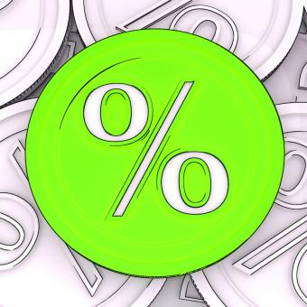 Free Stock Photo of Percentage Sign Coin Meaning Interest Rates