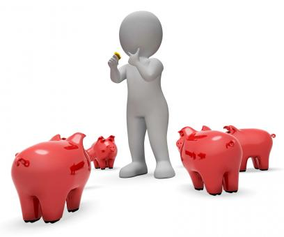 Free Stock Photo of Save Savings Means Piggy Bank And Currency 3d Rendering
