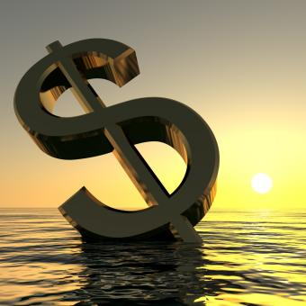 Free Stock Photo of Dollar Sinking And Sunset Showing Depression Recession And Economic Do