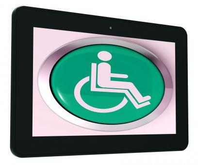 Free Stock Photo of Disabled Tablet Shows Wheelchair Access Or Handicapped