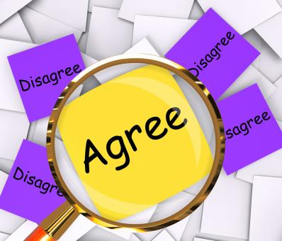 Free Stock Photo of Agree Disagree Post-It Papers Mean Opinion Agreement Or Disagreement
