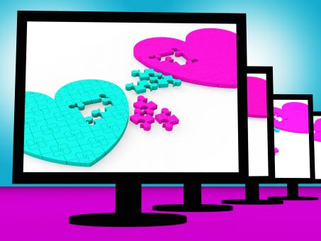 Free Stock Photo of Two Hearts On Monitors Showing Celebrities Romances