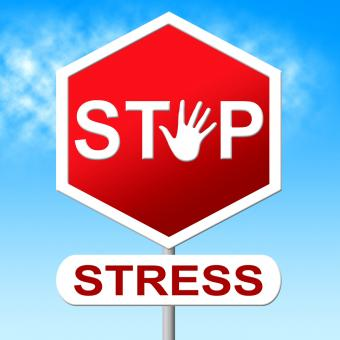 Free Stock Photo of Stop Stress Shows Warning Sign And Caution