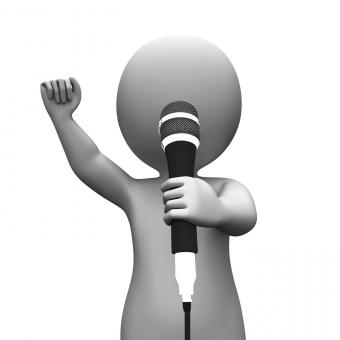 Free Stock Photo of Singer Singing Character Shows Music Or Karaoke Concert
