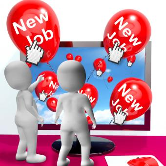 Free Stock Photo of New Job Balloons Show Internet Congratulations for New Jobs